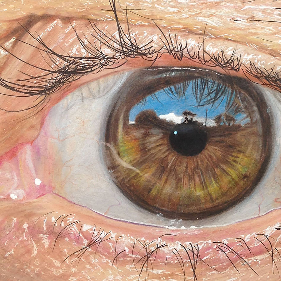 19 Year Old Artist Draws Hyper Realistic Eyes Using Only Coloured Pencils Demilked