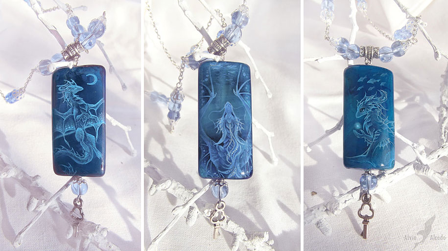 fantasy-creatures-stone-painting-necklaces-alvia-alcedo-9
