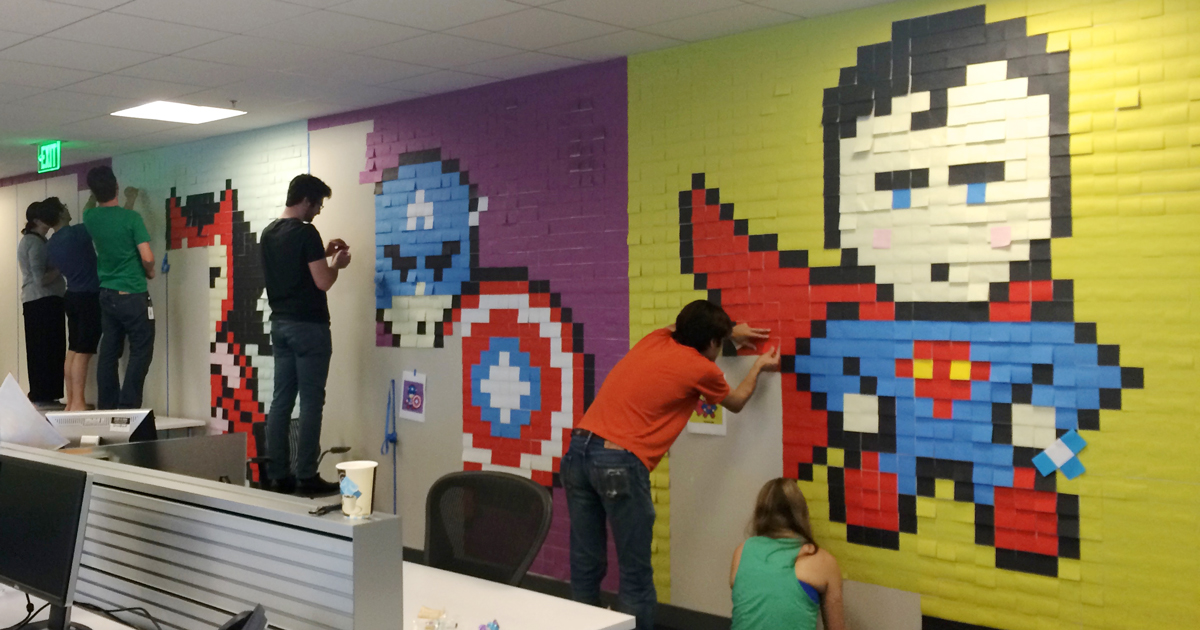 Bored Employee Uses 8 024 Post It Notes To Transform Boring Office Demilked