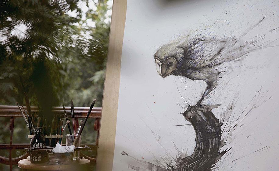 animal-paintings-ink-on-paper-hua-tunan-3