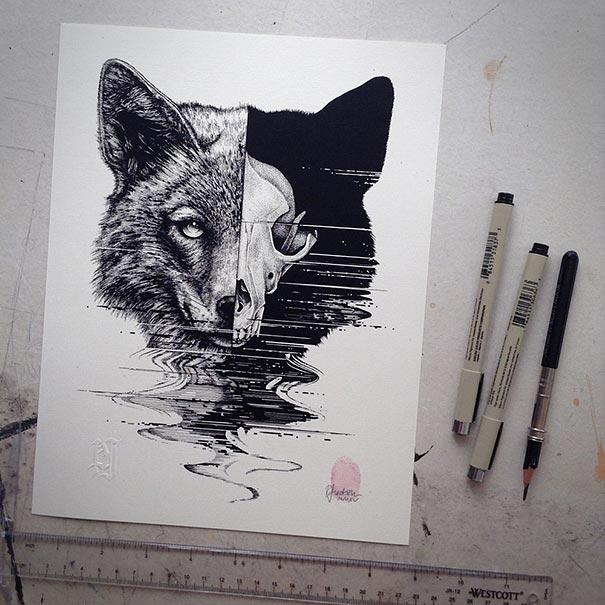 eerie-gruesome-gothic-black-white-animal-skull-art-paul-jackson-16