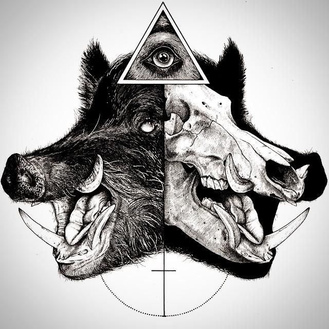 eerie-gruesome-gothic-black-white-animal-skull-art-paul-jackson-5
