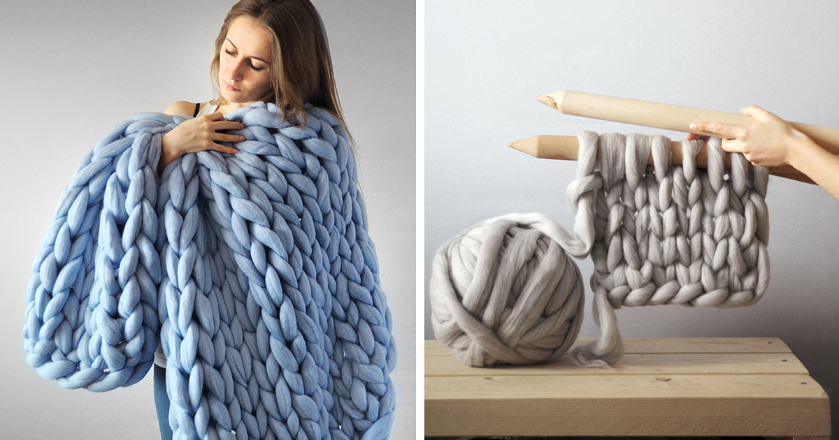 Chunky Hand Knit Blankets For Giants That Also Work For Humans Demilked