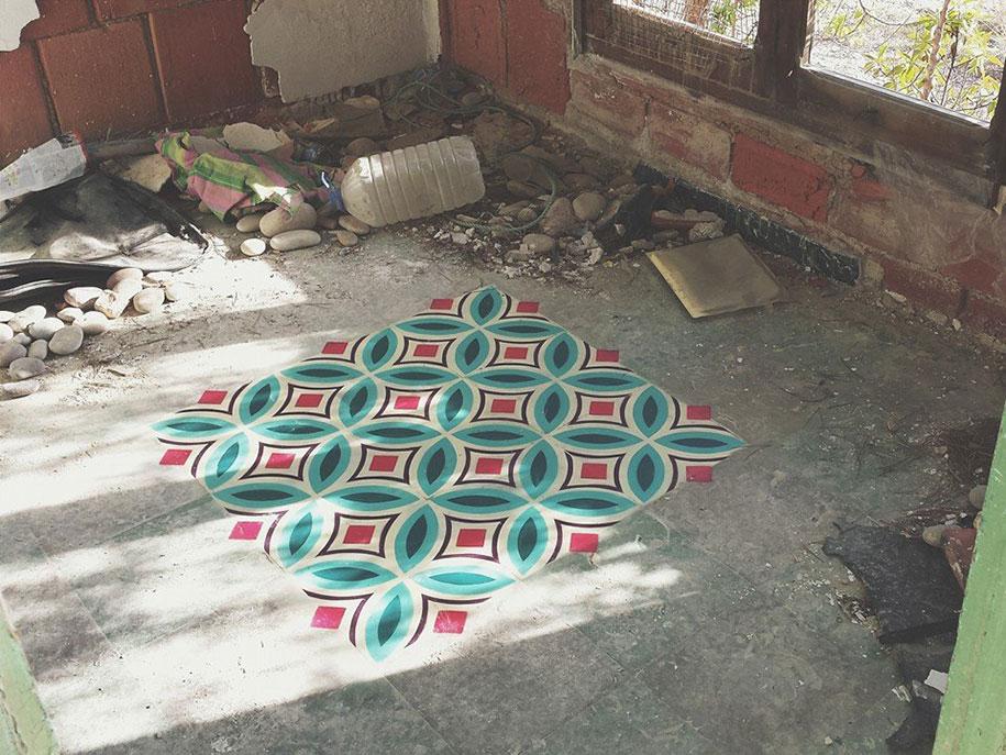 graffiti-spray-paint-tile-pattern-floor-installations-javier-de-riba-2