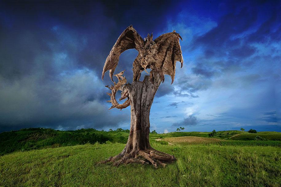 sculptures-driftwood-dragon-wyvern-james-doran-webb-6