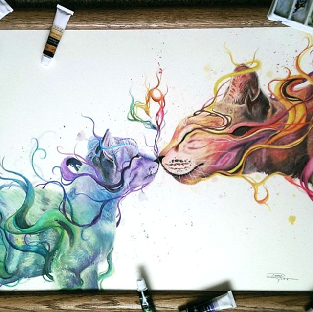 17 year old artist creates incredibly lively watercolor and pencil art demilked