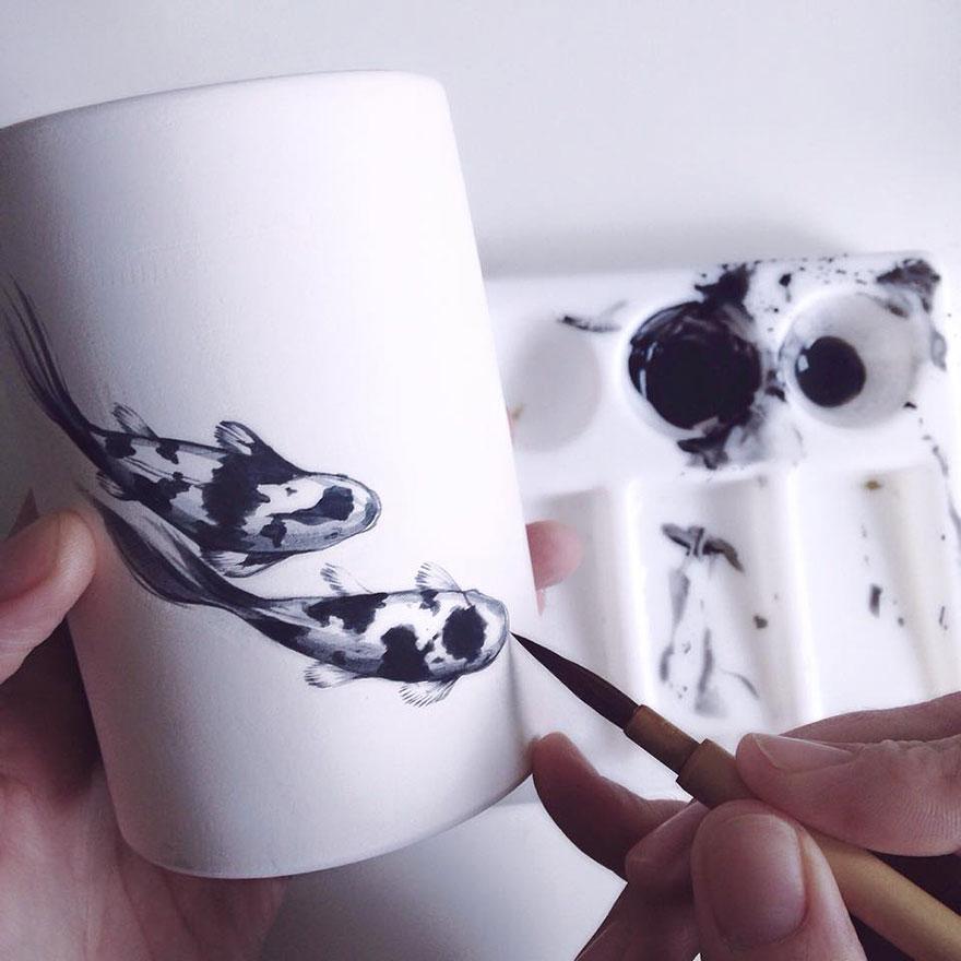 nature-inspired-fish-paintings-porcelain-niharika-hukku-2