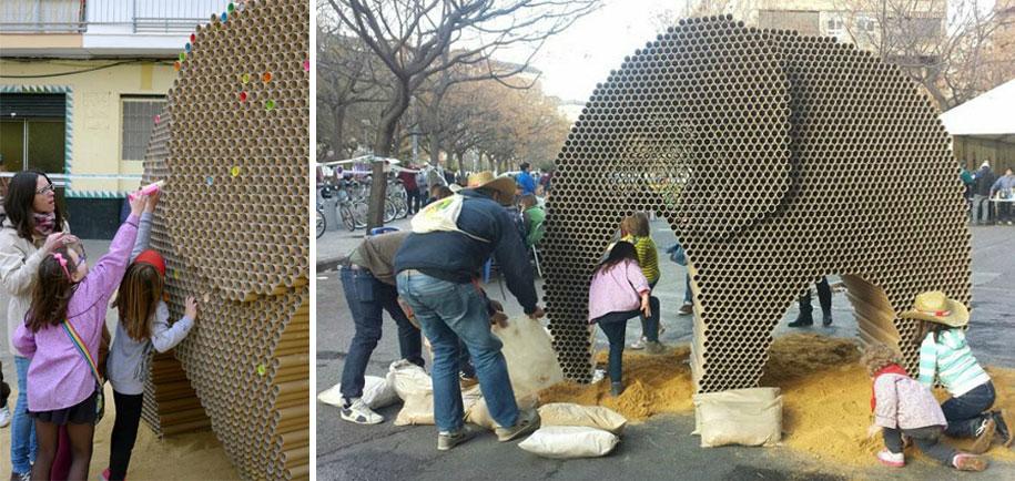 recycled-cardboard-tubes-elephant-dreams-weight-nituniyo-spain-13