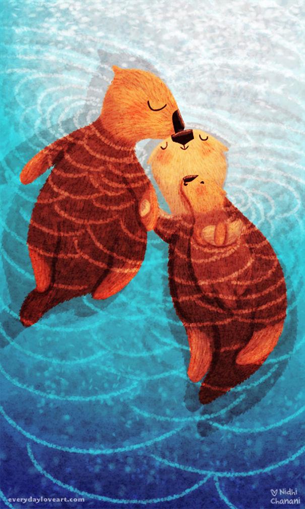 Illustration of sea otter family