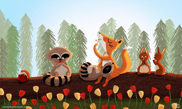 Illustration of forest animals snacking together