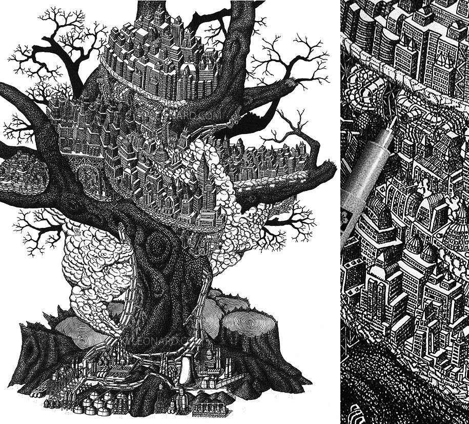 surreal-pointillism-stippling-dot-art-kyle-leonard-8