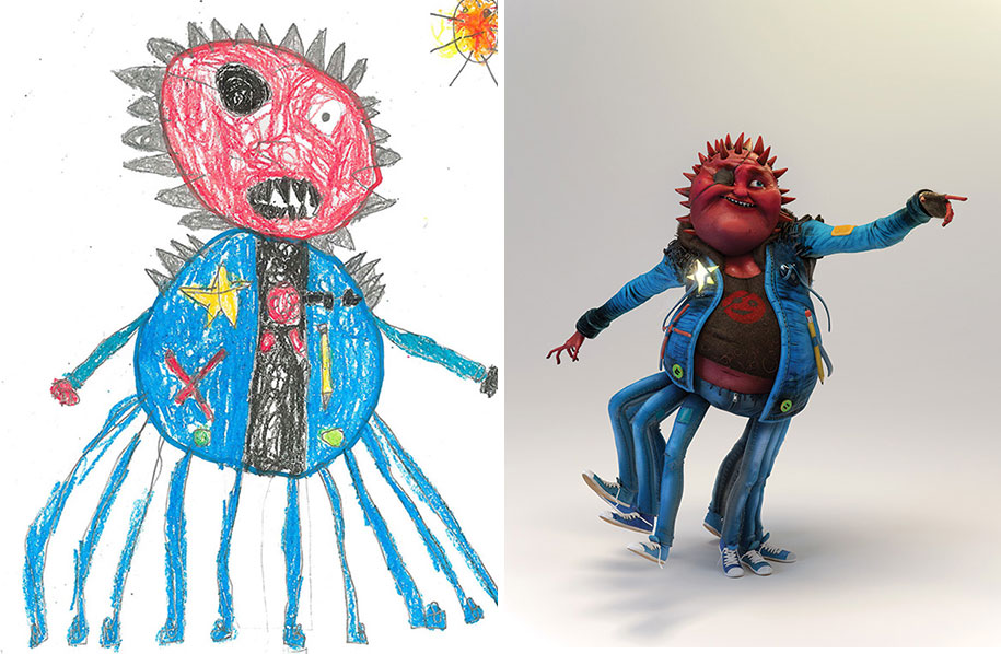 artists-redraw-children-drawings-inspiration-monster-project-10
