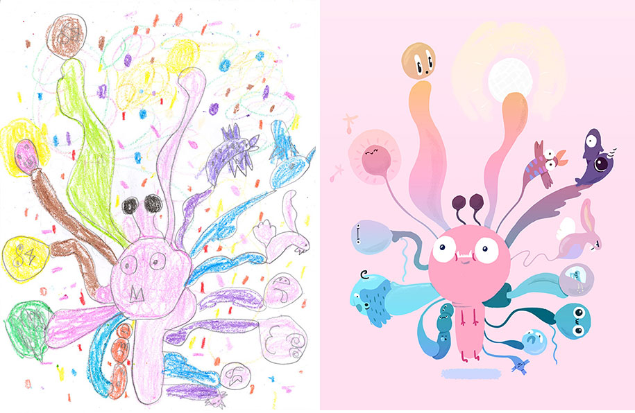 artists-redraw-children-drawings-inspiration-monster-project-18