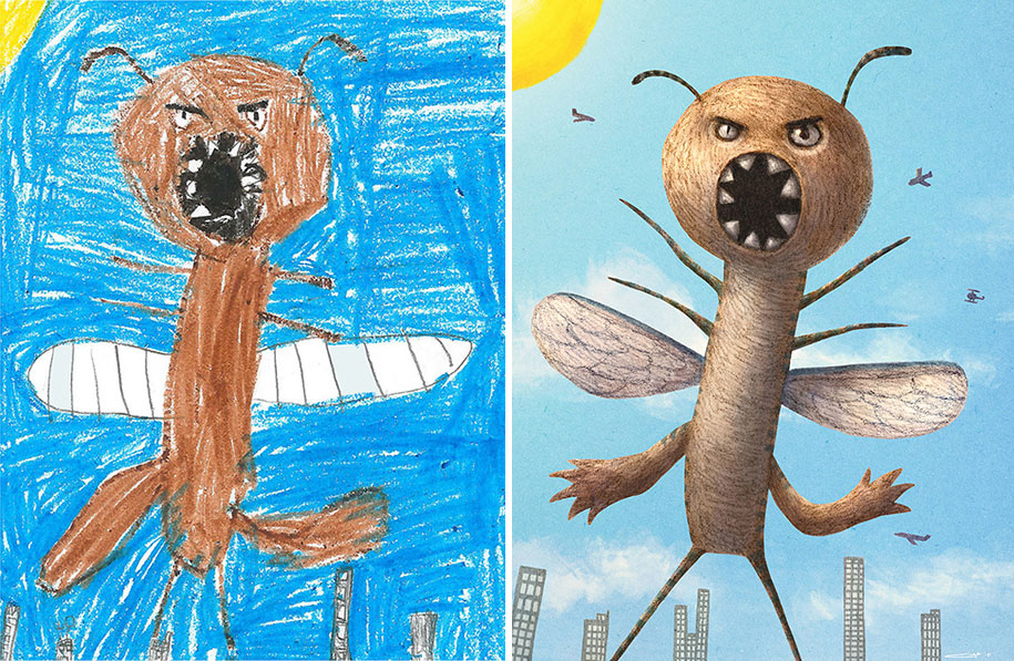 artists-redraw-children-drawings-inspiration-monster-project-19