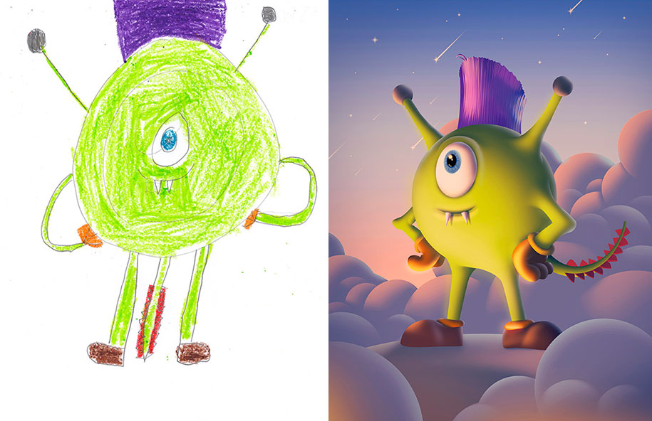 artists-redraw-children-drawings-inspiration-monster-project-7