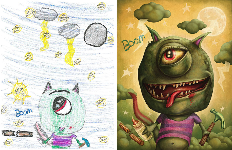 artists-redraw-children-drawings-inspiration-monster-project-8