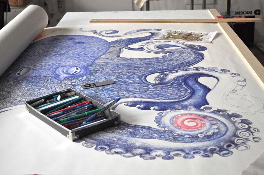 ballpoint-pen-drawing-deep-blue-octopus-raymond-cicin-6