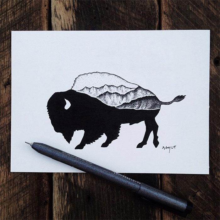 black-white-animal-landscape-hybrid-drawings-sam-larson-steel-bison-1