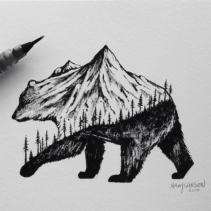 black-white-animal-landscape-hybrid-drawings-sam-larson-steel-bison-11