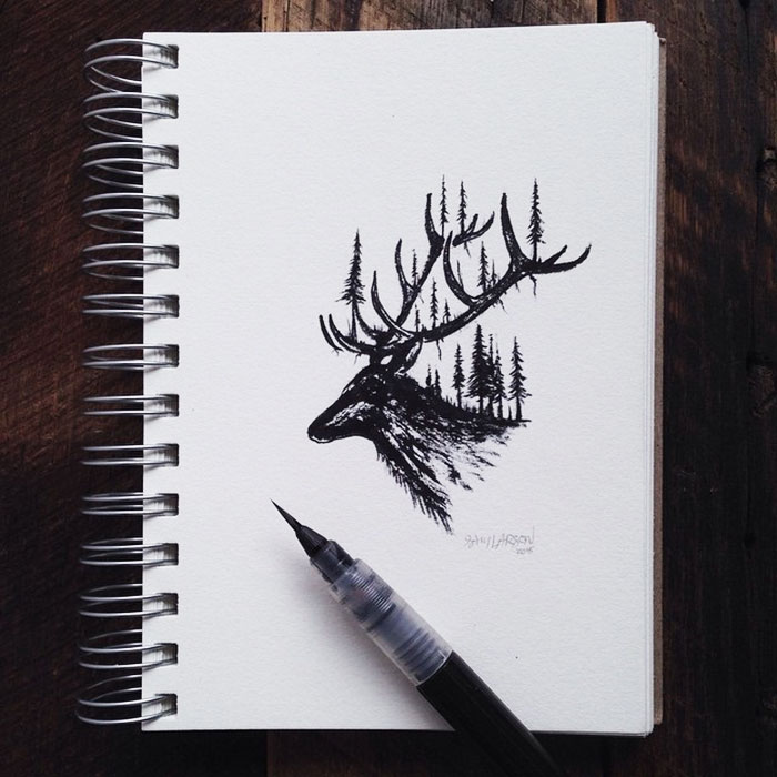 black-white-animal-landscape-hybrid-drawings-sam-larson-steel-bison-13