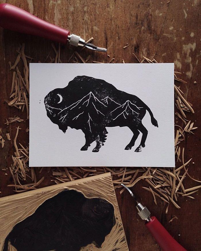 black-white-animal-landscape-hybrid-drawings-sam-larson-steel-bison-7