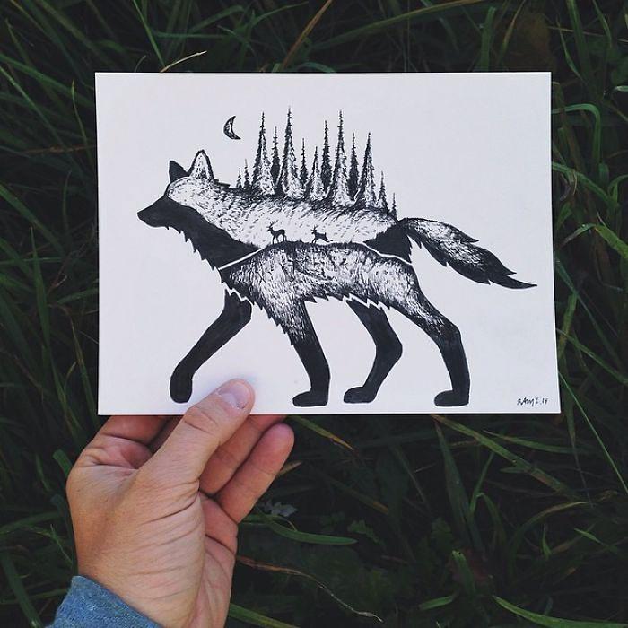 black-white-animal-landscape-hybrid-drawings-sam-larson-steel-bison-8