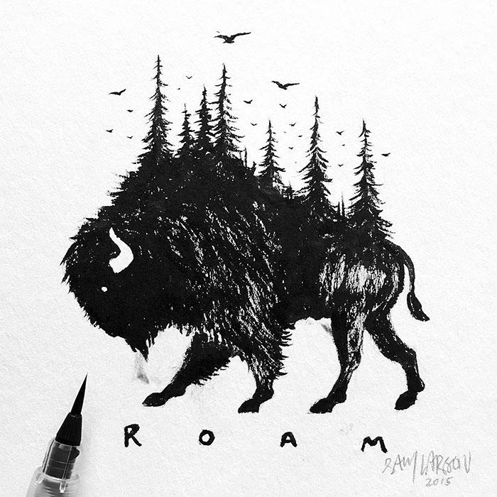 black-white-animal-landscape-hybrid-drawings-sam-larson-steel-bison-9