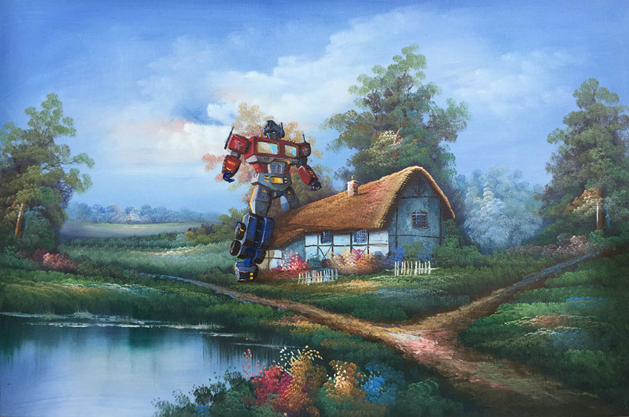 pop-culture-characters-additions-thrift-store-paintings-dave-pollot-5