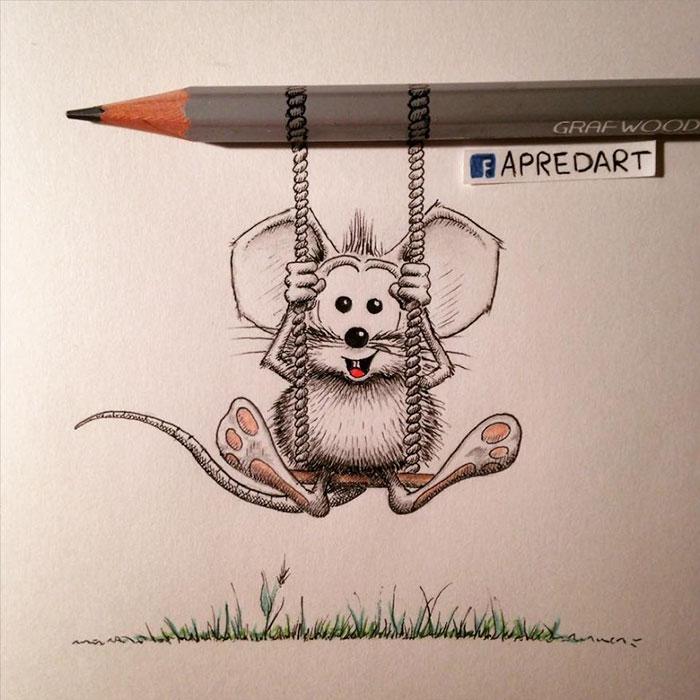 pencil-drawings-mouse-adventures-rikiki-loic-apredart-17
