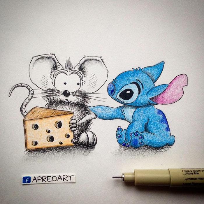 pencil-drawings-mouse-adventures-rikiki-loic-apredart-18