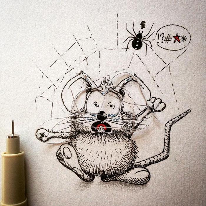 pencil-drawings-mouse-adventures-rikiki-loic-apredart-27