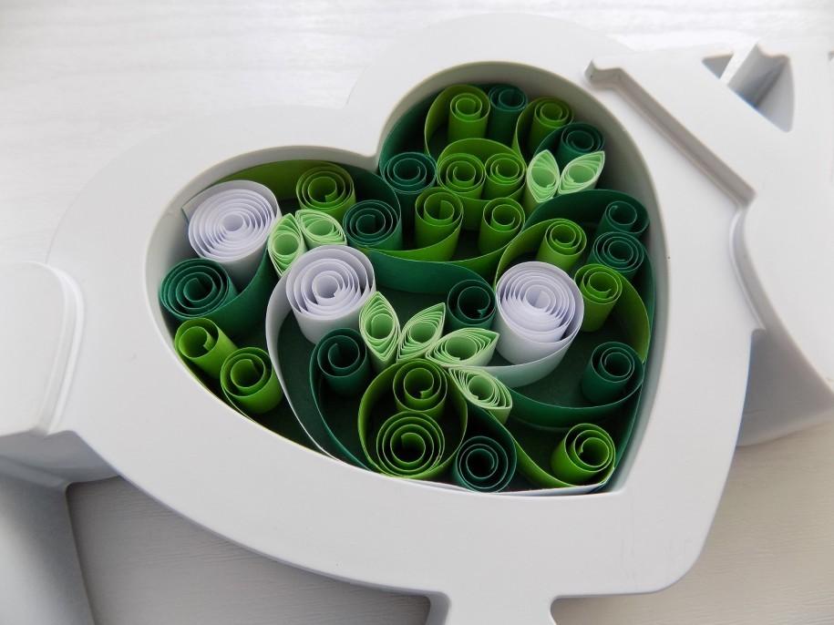 Swirly Love Heart in Green Shades