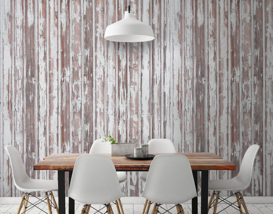 OLD PAINTED WOODEN PLANKS WALL MURAL