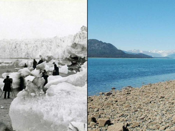 The Muir Glacier in Alaska as seen on the left in the 1890s and the right image was taken in 2005. It clearly shows how fast the landscape changed due to global warming