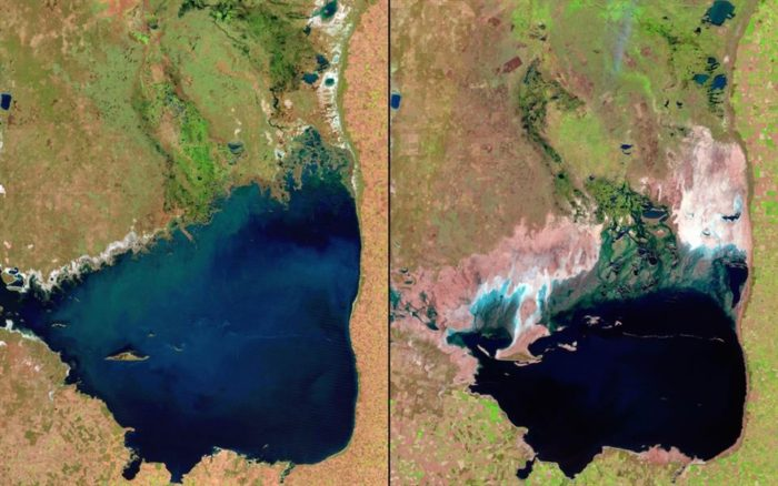 The below satellite images show the shrinking of Mar Chiquita in Argentina. Mar Chiquita is one of the largest natural saline lakes in the world, but has been shrinking due to irrigation and drought
