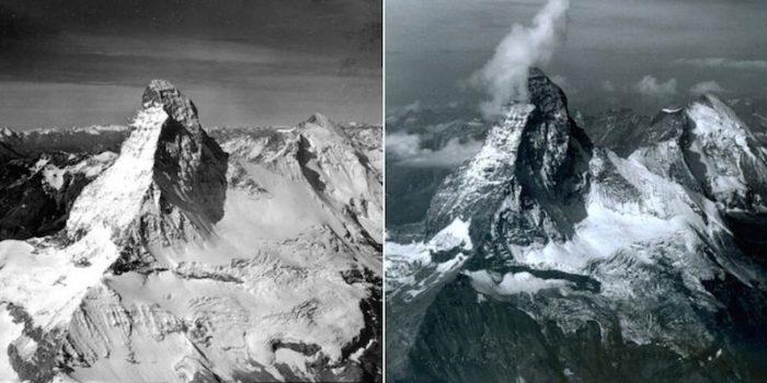 The decreasing snowfall accumulation on Matterhorn Mountain between 1960 and 2005