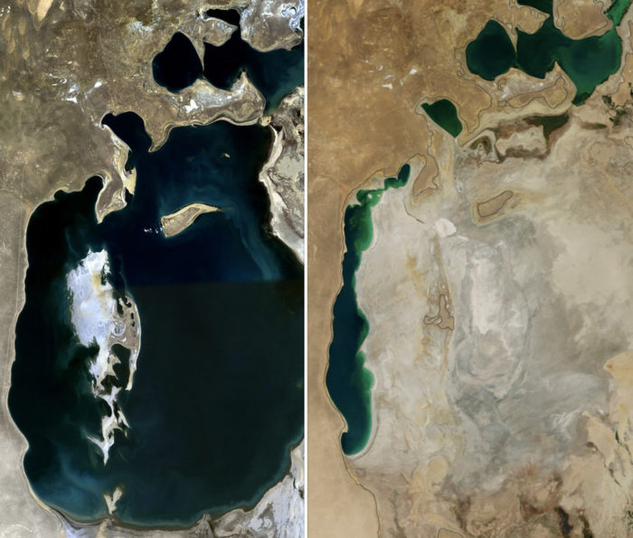 Satellite Image of Aral See shows from 1989 and 2014