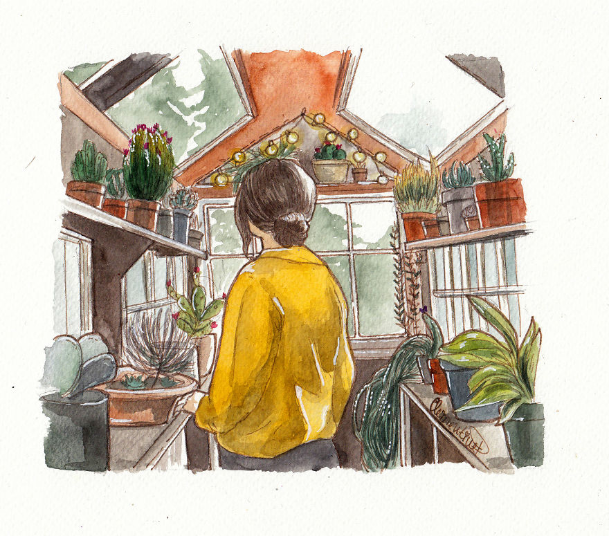 This Bulgarian Artist Quit Her Job To Create Watercolor Illustrations  Reflecting Her Daily Life   DeMilked