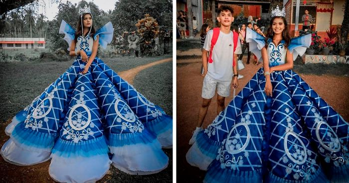 Brother Makes Prom Dress For Sister After Finding Out Parents Can T Afford To Rent Her One Demilked