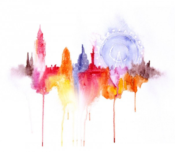 Abstract watercolor cityscapes elena romanova 3