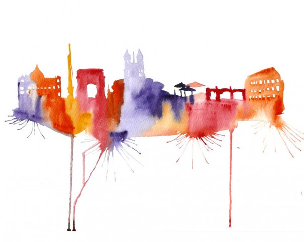 Watercolor Cityscape Drawings By Elena Romanova Demilked