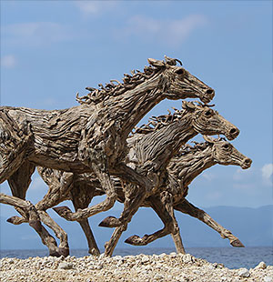 Giant Dragons Made Out Of Driftwood By James Doran Webb