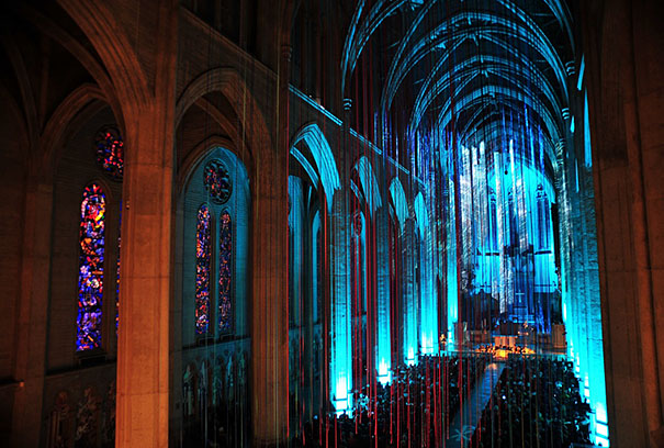 20 Miles Of Multicolored Ribbons Fall From Grace Cathedral