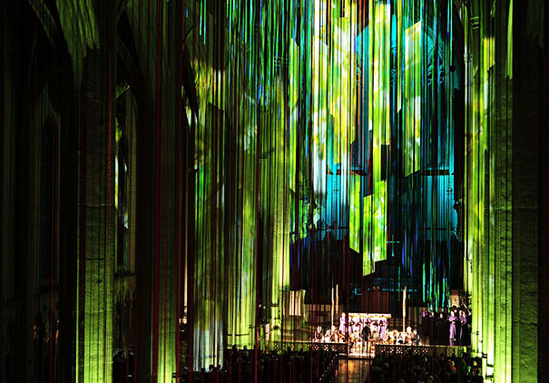 Walls And Ceilings >> 20 Miles of Multicolored Ribbons Fall From Grace Cathedral's Ceilings In Art Installation by ...