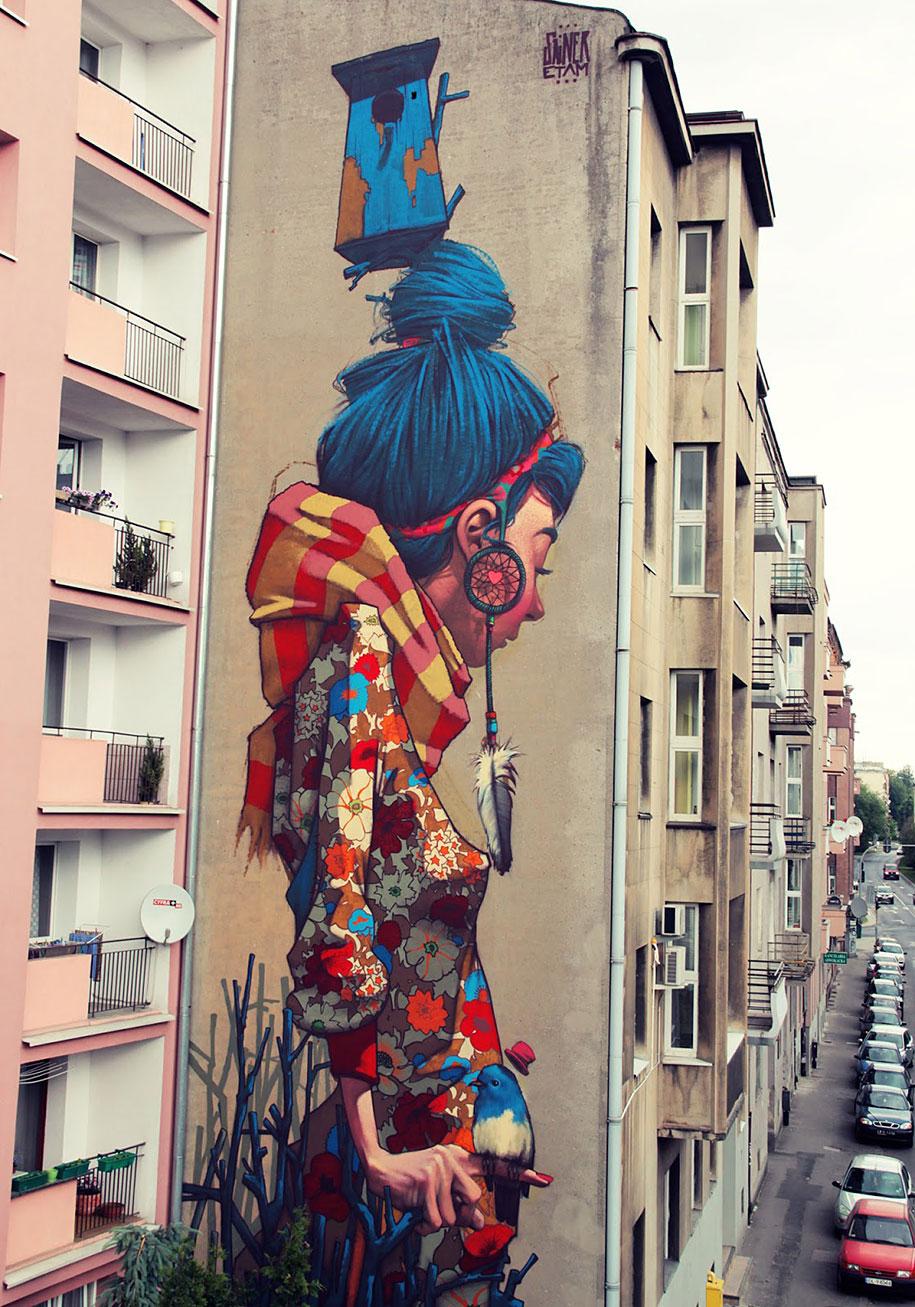 Etam cru brightens city walls with epic colorful street for Mural street art