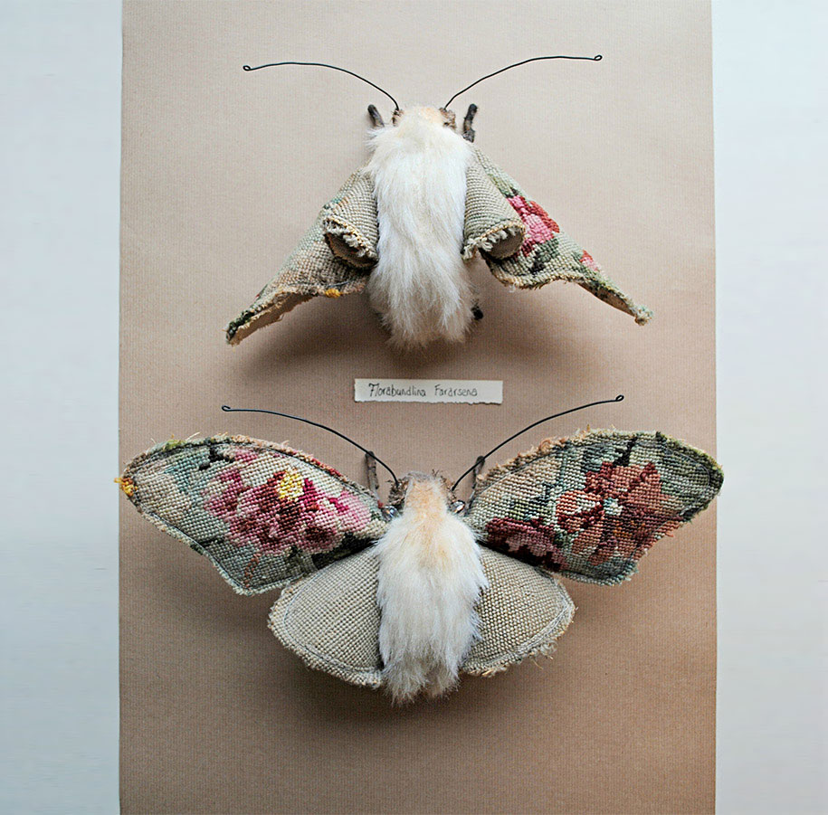 Beautiful flora and fauna made from vintage fabrics by