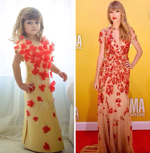 4-Year Old Girl Creates Stylish Paper Dresses Together With Her Mother