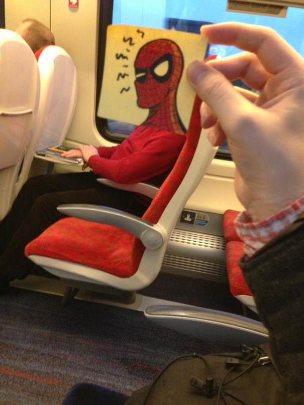 Illustrator Turns Other Commuters Into Cartoon Characters To Pass