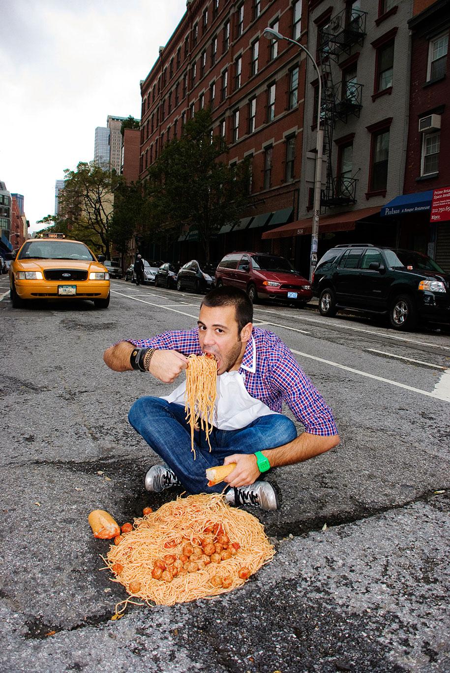 Annoying City Potholes Turned Into Imaginative Scenes