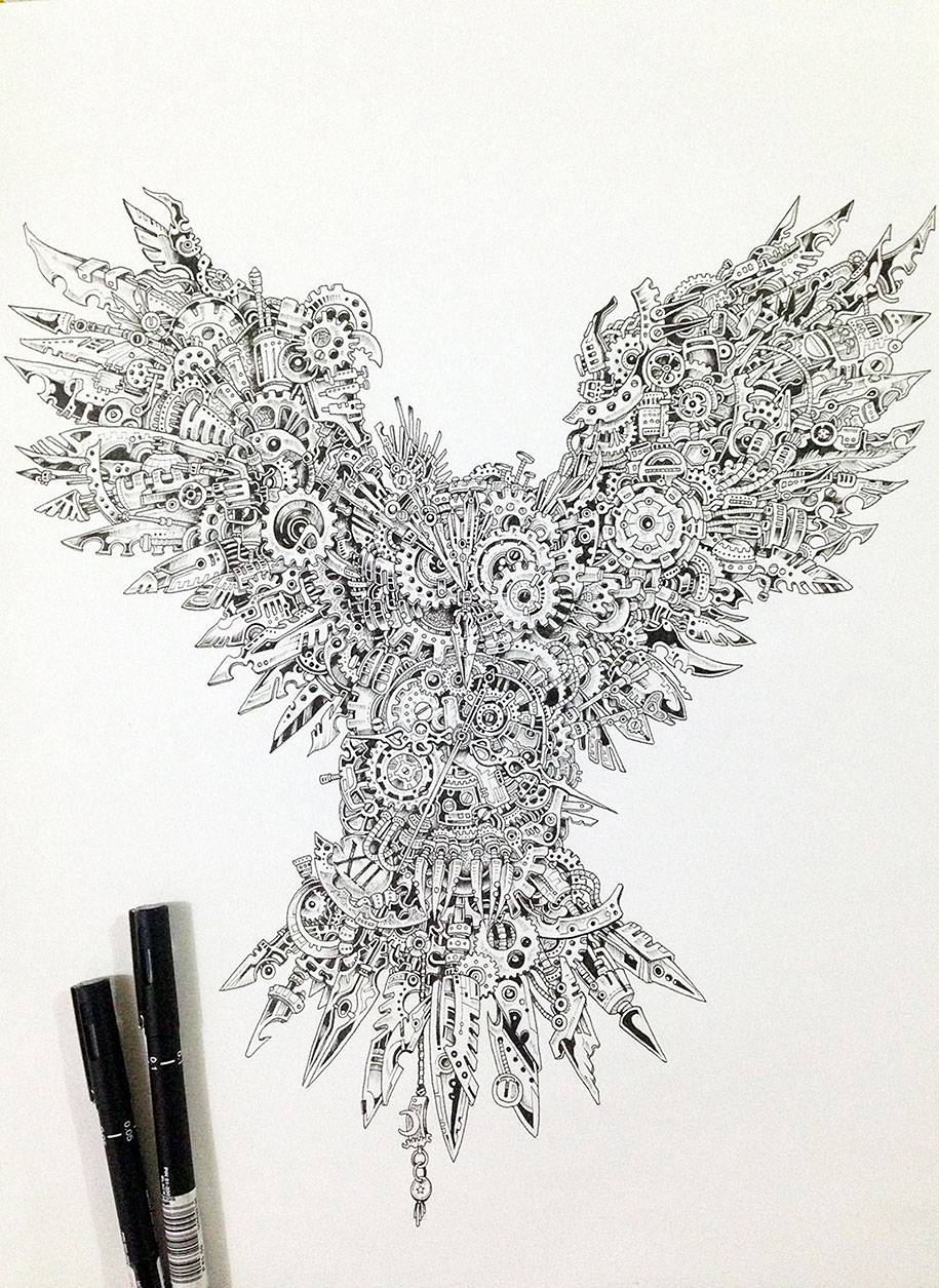 Strikingly detailed steampunk owl illustration by doodle for Kerby rosanes